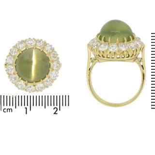 Antique cat's eye chrysoberyl and diamond coronet cluster ring, circa 1900.