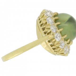 Antique cat's eye chrysoberyl and diamond coronet cluster ring, circa 1900.