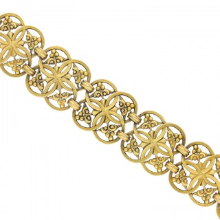 Gothic revival gold bracelet by Wiese, circa 1885.
