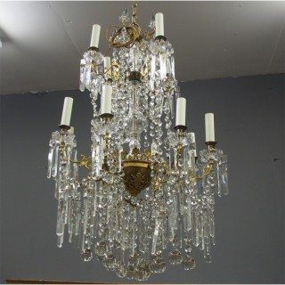 Glass and Gilded Brass 2 Tier Chandelier