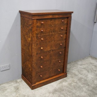 Victorian Burr Walnut Wellington Chest
