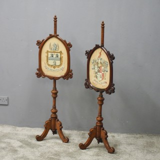 Pair of Gothic Revival Pole Screens