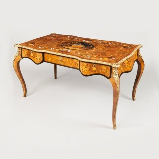 A Marquetry Bureau Plat in the Louis XV Manner