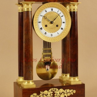 A French Very Stylish Charles X Period (1824-1830) Mahogany Portico Clock