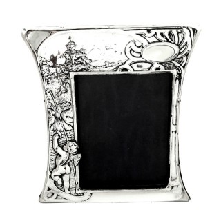 Antique Art Nouveau Sterling Silver Photo Frame 1904 - Boy Fishing