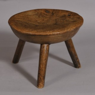 Antique 19th Century Fruitwood Stool