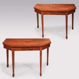 Late 18th Century Pair Of Sheraton Mahogany Inlaid Card Tables
