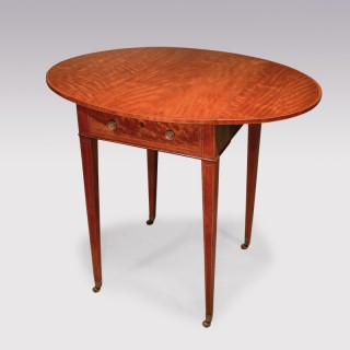 Late 18th Century Sheraton Period Satinwood Small Oval Pembroke Table