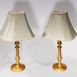 Pair Of Early 19th Century Ormolu Candlestick Lamps
