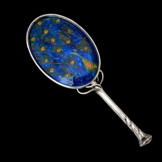 Charles Ashbee for the Guild of Handicraft peacock enamel hand mirror