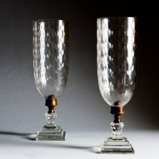 PAIR OF GLASS CANDLESTICK HURRICANE LAMPS