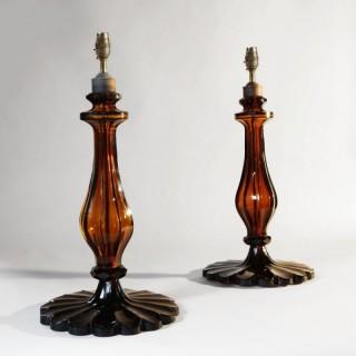 PAIR OF TAJ AMBER GLASS TABLE LAMPS