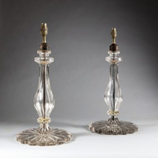 CLEAR GLASS PAIR OF TAJ TABLE LAMPS
