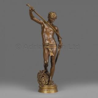 'David Vainqueur de Goliath' - A Fine Patinated Bronze Figure
