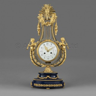 A Louis XVI Style Gilt-Bronze Lyre Clock