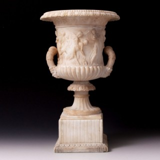 GRAND TOUR CARVED ALABASTER BORGHESE VASE – 19TH CENTURY, ITALIAN