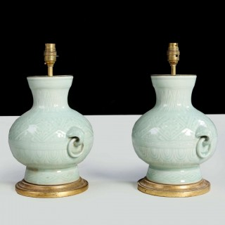 PAIR OF SMALL CHINESE CELADON GREEN TABLE LAMPS