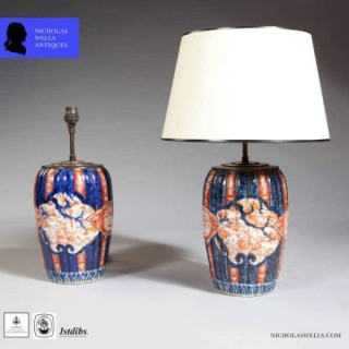 PAIR SMALL JAPANESE IMARI PORCELAIN ANTIQUE TABLE LAMPS