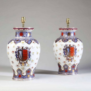 PAIR OF ORIENTAL SAMSON ANTIQUE PORCELAIN VASE TABLE LAMPS