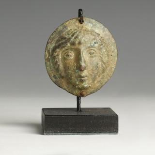 Roman Bronze Appliqué Of A God