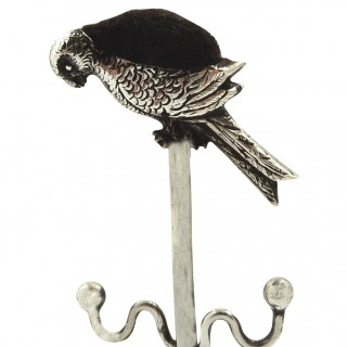 Antique Sterling Silver Parrot Ring Tree / Pin Cushion 1913
