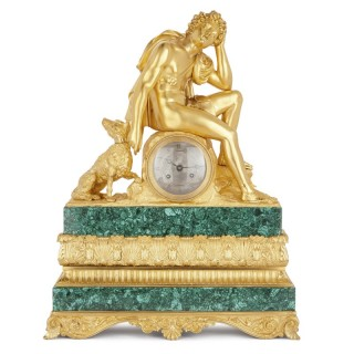 19th Century malachite and gilt bronze mantel clock by Honoré Pons