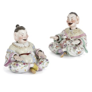 Two Meissen porcelain Chinese nodding pagode figures