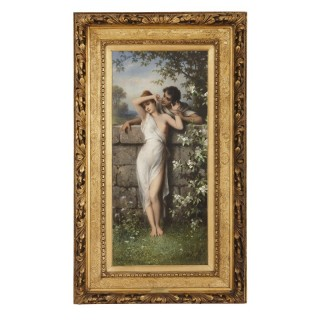Oil painting of young lovers by Schweninger the Younger