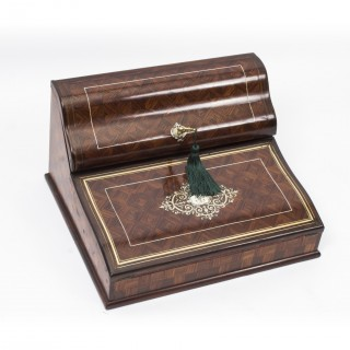 Antique Kingwood Writing Slope Stationary Cabinet by Paul Sormani 19th C