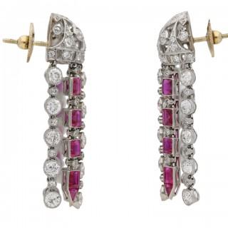 Ruby and diamond tassle earrings, circa 1920.