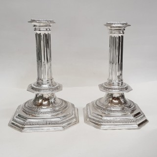 Antique William III Style Silver Candlesticks