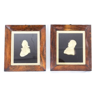Antique Pair English Framed Ormolu Busts of Classical Gentleman, 19th Century