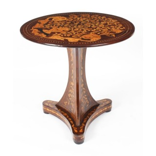 Antique Dutch Floral Marquetry Occasional Table Late 18th Century