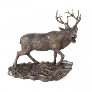 Antique French Bronze Stag Sculpture Christopher Fratin 19th Century