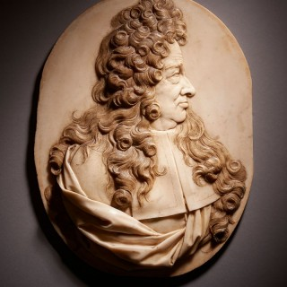 Finely Carved Marble Portrait Relief, French, late 17th/early 18th Century