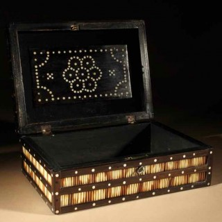 A Decorative Anglo Indian Hardwood Quill Porcupine Box circa: 1880-1900