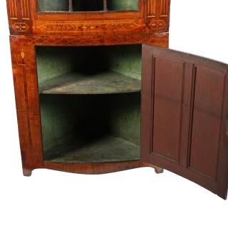 18th Century Bow Double Corner Cupboard