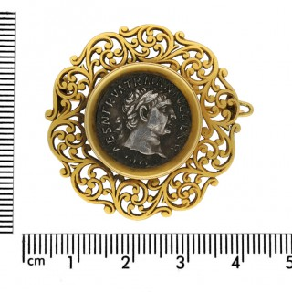 Archeological Revival Roman Coin Brooch by Wiese, circa 1890.