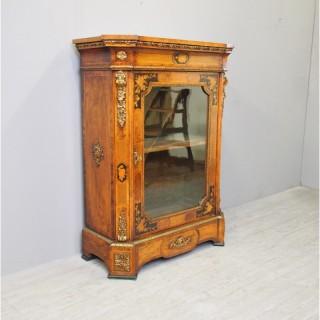 Victorian Walnut Marquetry Inlaid Pier Cabinet