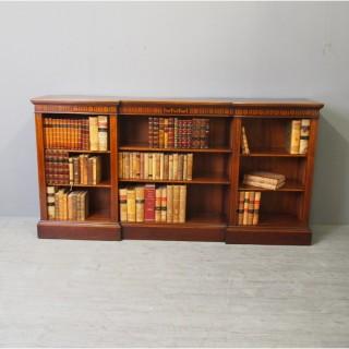 Sheraton Style Inlaid Mahogany Open Bookcase