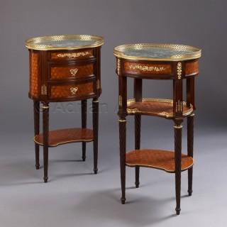 A Companion Pair of Louis XVI Style Mahogany Gueridons