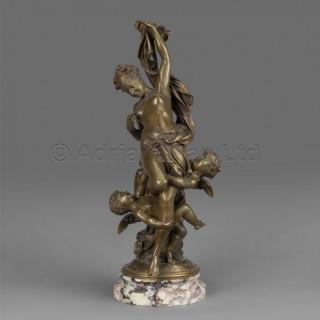 'L'innocence Tourmentée Par L'amour' - A Patinated Bronze Figural Group