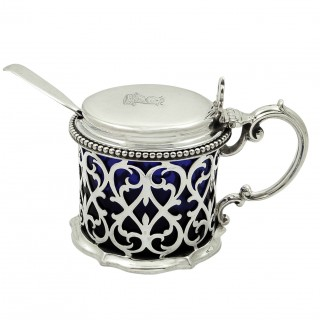 Antique Victorian Sterling Silver Mustard Pot with Spoon 1883