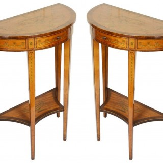Small Pair of Sheraton style console tables, 19th Century.