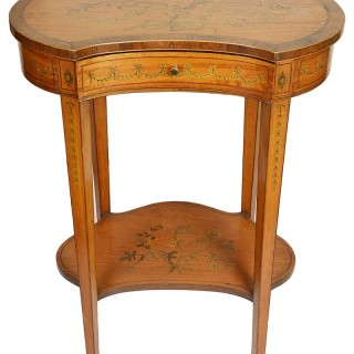 Sheraton style Satinwood side table by Edwards and Roberts.