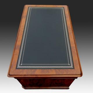 Antique Burr and Figured Walnut Pedestal Desk
