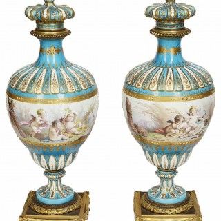 Pair 19th Century Sevres style vases.