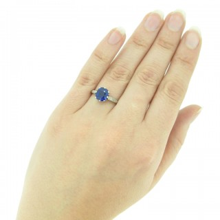 Royal Blue Kashmir sapphire and diamond ring, circa 1910.