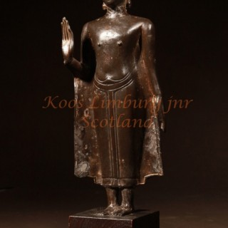 A fine early bronze crowned Buddha figure sculpture Thailand circa 1600