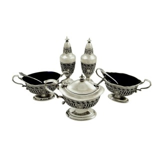 Antique Edwardian Sterling Silver 5 Piece Cruet Set 1908
